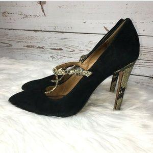 Coach leather snake skin T strap heels size 7